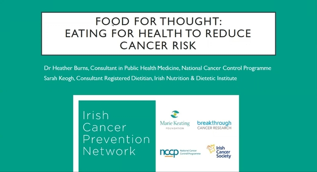Food for thought Eating for Health to Reduce Cancer Risk Webinar Feb 4th 2021