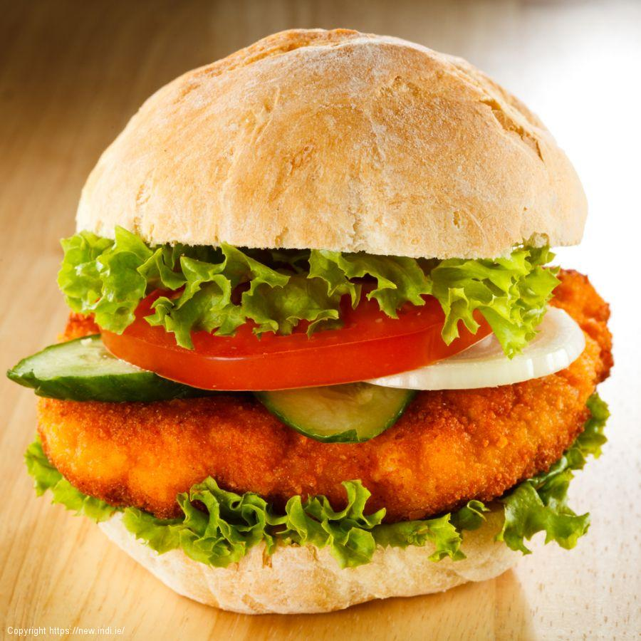 Chicken fillet burger and sweet potato wedges