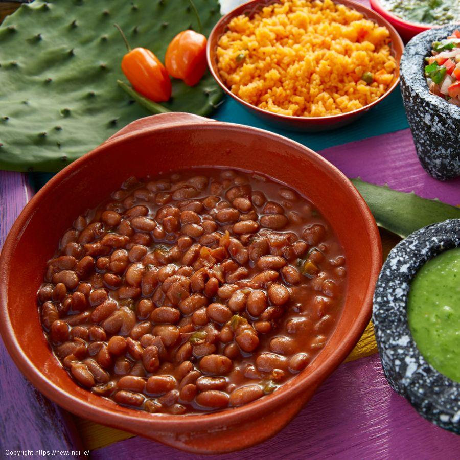 Rice, beans and salsa