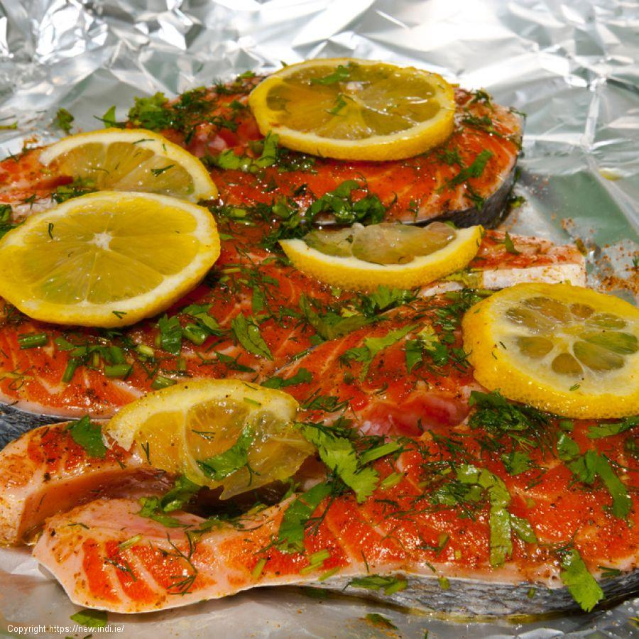 Green olive salmon in a citrus and basil dressing