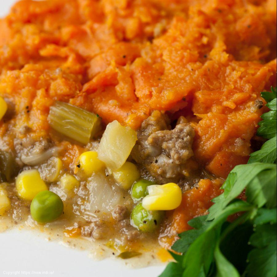 Sweet Potato pie with mince and lentils