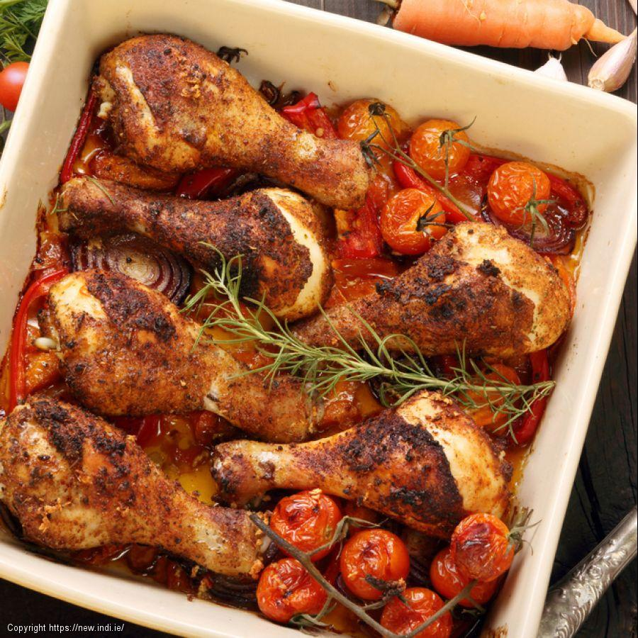 Flattened chicken with tomatoes and olives